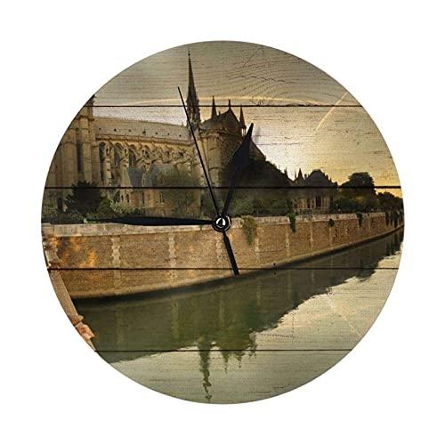 GOSMAO Round Wall Clock,Notre Dame De Paris River,Hanging Clock Desk Clock Decorative Clock For Home School Office