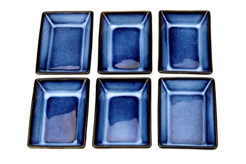 Urban Lifestyle Kinki - Set di 6 ciotole rettangolari per salse 8,8 x 6,2 x 2,3 cm, colore: Blu