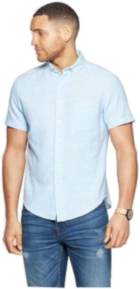 Goodfellow & Co. Mens Size X-Large S/S Button Down Linen Shirt, Aqua Falls