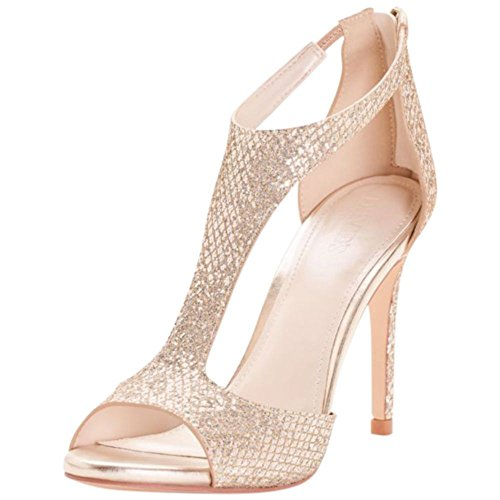 David's Bridal Glitter Fabric T-Strap Heels Style Saylor, Gold Metallic, 8