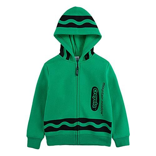 Crayola Children's Apparel Kids' Little Long Sleeve Fleece Full Zip Hooded Hoodie Sweatshirt, Mountain Meadow, 7