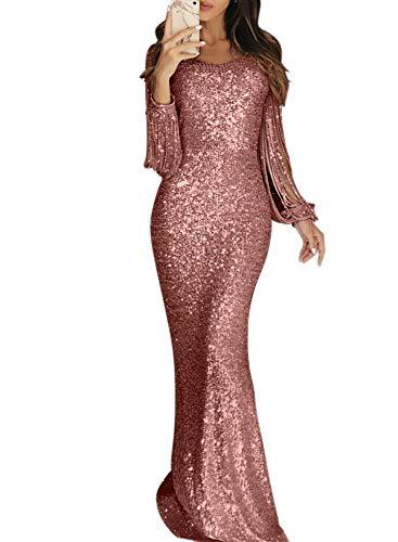 GOSOPIN Damen Kleid elegant Abendkleider Quaste Lang Cocktailkleid Glänzend Pailletten Partykleider festlich Maxikleider für Hochzeit, Party S-XL