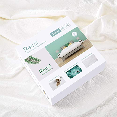 RECCI Premium Bamboo Mattress Protector Full Size - 100% Bamboo Fabric Surface Mattress Cover, Waterproof Bed Cover, Hypoallergenic, Vinyl Free【Full Size】
