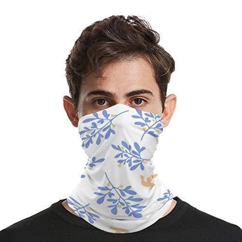 Bandana unisex para la cara, multifuncional, patrón de hojas, elástico, transpirable, pasamontañas, diseño azul