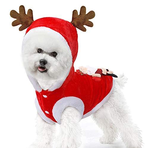 Weihnachten Hundebekleidung,TWBB Niedlich Rentier Haustier Welpen Hunde-Kostüm Super weich Fleece Kostüm Hundemantel Jacke Warmer Weihnachtsmann-Stickerei Drucken Mantel Pullover Mit Kapuze