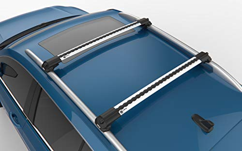 Juego de barras portaequipajes para Skoda Karoq SUV (2017-), aluminio, Turtle, soporte de barra longitudinal, antirrobo, plata