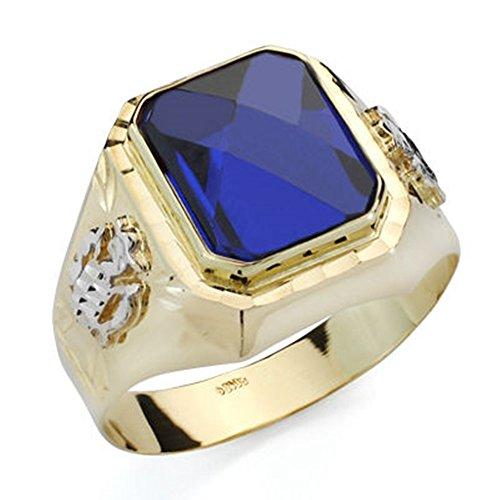 Sello oro 18k caballero espinela azul tallada [AB4739]