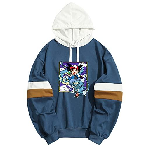 Camisa Deportiva Informal para Hombre De Dibujos Animados Anime Goku Sports Fitness Hoodie Slim Hoodie Fashion Cardigan (Azul_1+XXL)