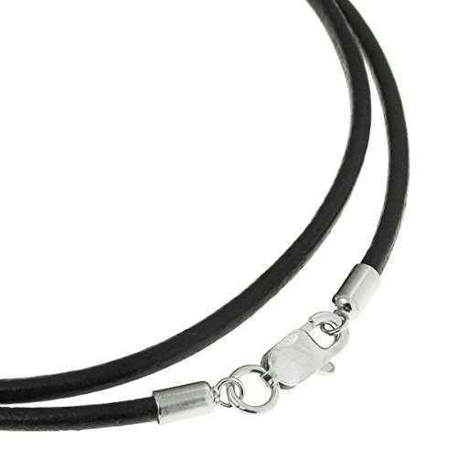 Queenberry Black Leather 2mm Choker Necklace with Sterling Silver Lobster Clasp, 16