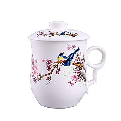 Ceramic Tea Mug with Lid, Anti-scalding Handle Design Ceramic Coffee Mug or Tea Cup ,CYXChenyu Milk Tea Drink Porcelain Cup, Great for Tea Lover Gift (Magpie)