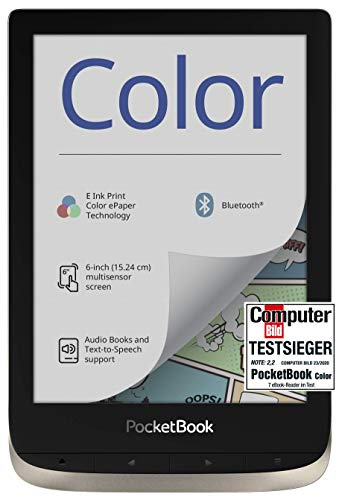 PocketBook e-Book Reader 'Color' (16 GB Speicher, 15,24 cm (6 Zoll) E-Ink Kaleido Farb-Display, Vordergrundbeleuchtung, Wi-Fi, Bluetooth) Moon Silver