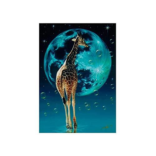 ZREAL 25 * 30 cm Maan Giraffe diamant schilderij kit DIY borduurwerk dier kruissteek kunst hoofdwanddecoratie