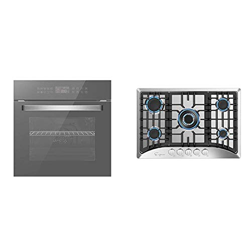 Empava 24' Electric Convection Single Wall Oven Deluxe 360° ROTISSERIE, Silver Mirror Glass EMPV-SOC17, 24 Inch & 30' 5 Italy Sabaf Burners Gas Stove Cooktop Stainless Steel EMPV-30GC5B70C, 30 Inch