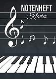 Notenheft Klavier: DIN A4 - 100 Seiten - Blanko Notenblock - Anfänger und Fortgeschrittene - Große Lineatur - Musik Schreibheft - Leere Notensysteme