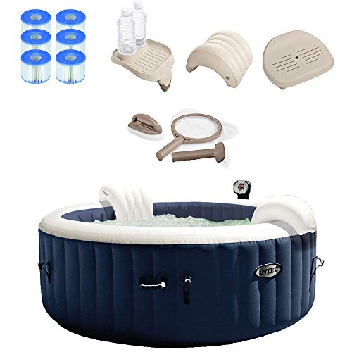 """Intex 28405E PureSpa 58"""" x 28"""" 4 Person Home Outdoor Inflatable Portable Heated Round Hot Tub Bubble Jet Spa with 6 Filter Cartridges, Seat Insert, Headrest, Drink Holder Tray and Maintenance Kit"""