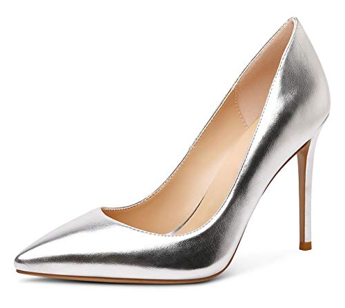 CASTAMERE Zapatos de Tacón Mujer Moda Puntiagudas Tacón de Aguja 10CM Tacón Plateado PU Zapatos EU 44