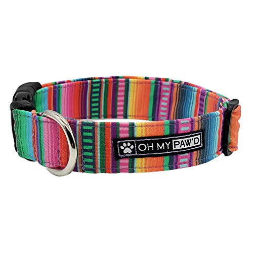 Serape Fabric Collar for Pets Size Large 1 Inch Wide and 17-25 Inches Long - Hand Made Dog Collar by Oh My Paw'd