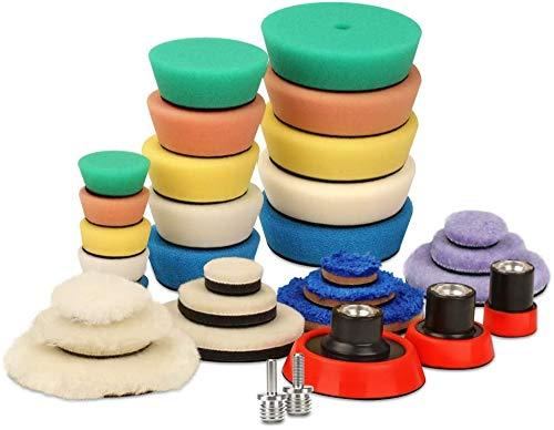 SPTA Mini Polishing Pads, 25mm 50mm 80mm Detailing Polishing Pads Car Detailing Kit Vehicle Buffing Pads Preserving Wax & Polishing Pads Paint Polishing Applicator (32Pcs) For mini Polisher -XBP123M58