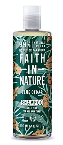 Faith in Nature Natuurlijke blauwe cedershampoo, ontspannend, veganistisch & zonder dierproeven, vrij van parabenen en SLS, voor alle haartypes, 400 ml