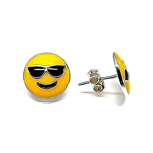 Pendientes plata ley 925m esmaltado 10mm. emoticono gafas sol [AA9145]