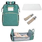 3 in 1 Travel Mommy Bag; Diaper bag; Changing station; Infant bed; Bassinet; Portable Baby Crib; Diaper bag changing station backpack (Green)