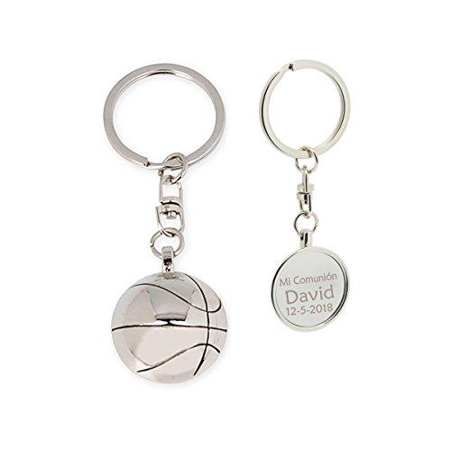 Llavero con forma de balón de baloncesto PERSONALIZADO con nombre y fecha. Pack 10 unidades
