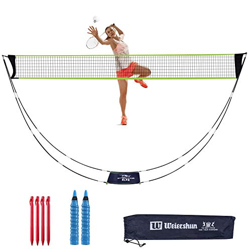 Rosybeat Badminton net Foldable Tennis net with Stand Carry Bag 4PCS Tent Nails 2 Pieces of Grip Tapes for Outside and Inside, Beach, Easy Setup