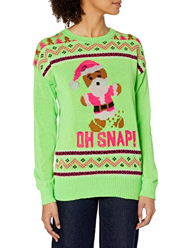 Cold Crush Women's Ugly Christmas Sweater, Gingerbread/Neon Green, Large