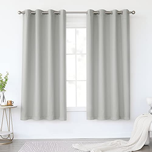 KEQIAOSUOCAI Light Gray Blackout Curtains 63 Inches Long for Living Room - Grommet Room Darkening Thermal Insulated Light Grey Curtain Drapes for Bedroom, Grey, 2 Panels Sets, 52W x 63L