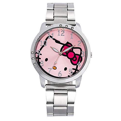 Reloj niño SFBBBO Reloj Infantil Diamante de imitación Dibujos Animados Diamante de imitación Hebilla de Acero Inoxidable Simple Kid Silverpink