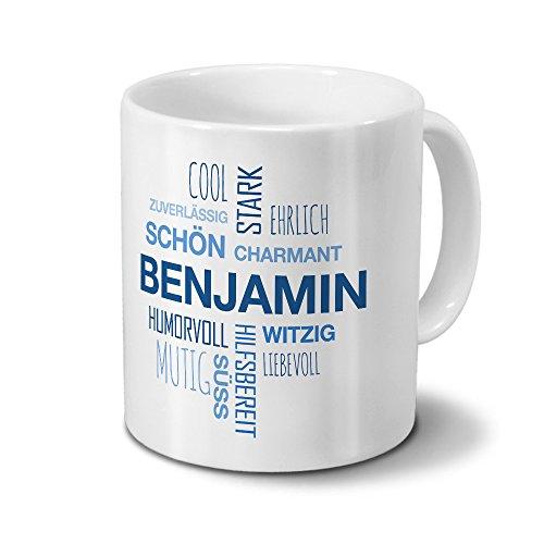 Tasse mit Namen Benjamin Positive Eigenschaften Tagcloud - Blau - Namenstasse, Kaffeebecher, Mug, Becher, Kaffeetasse