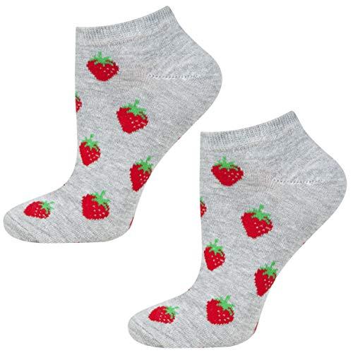 soxo Damen oder Mädchen Sneaker Socken | 11 Lustige Verschiedene Motive | Füsslinge Söckchen für Frauen | Grössen 35-40 (Erdbeeren)