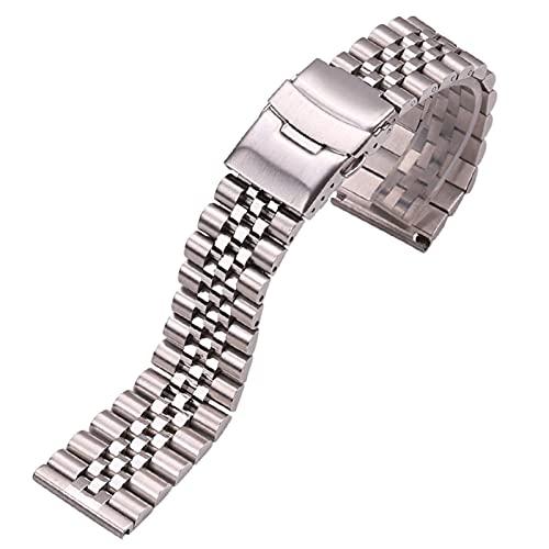 ZJSXIA Reloj Correa, Reloj de Acero Inoxidable Correa de Pulsera 20 mm 22 mm 24 mm Mujeres Hombres Silver Sólido Metal Reloj Accesorios Accesorios Pulsera Correas de Reloj