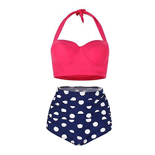FeelinGirl Damen Crossover Netz Gepolstert Bikini Set Zweiteilige Strandkleidung Bandeau Strandmode Blumen Druck Bikinihose