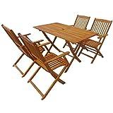Conjunto de Mesa y 4 Sillas Plegable, Mesa de Madera de Acacia con sillas, Estable y Duradero, Fácil de Limpiar, para jardín y Patio