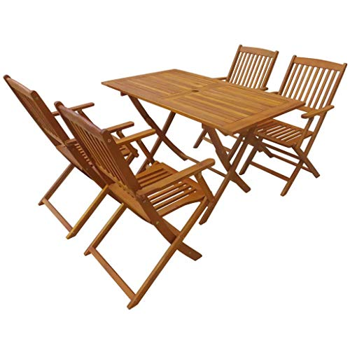 Cikonielf - Juego de comedor plegable para exteriores, mesa y 4 sillas de jardín, madera maciza de acacia con acabado de aceite natural, con orificios para sombrillas