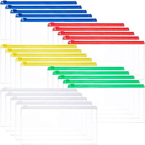 DILISEN 50 Piezas Zip Sobres de plástico Archivo Billetera Impermeable Bolsa Bill Bag Estuche para lápices Tamaño Carta (5 Colores)