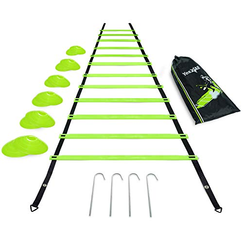 Yes4All Ultimate Combo Agility Ladder Training (Lime) Set – Speed Agility Ladder Lime 12 Adjustable Rungs, 12 Agility Cones & 4 Steel Stakes - Included Carry Bag