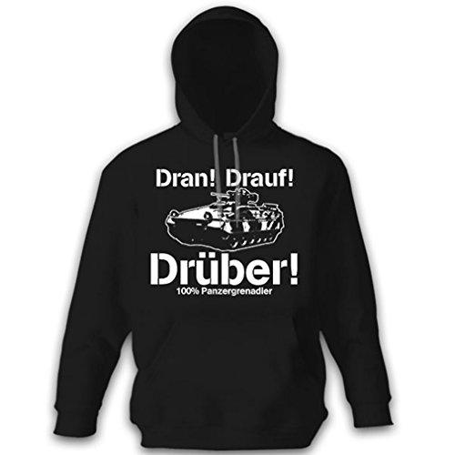 Copytec Panzergrenadier DRAN Drauf DRÜBER Panzer Bundeswehr Bund Pullover Hoodie #12059, Größe:M, Farbe:Schwarz