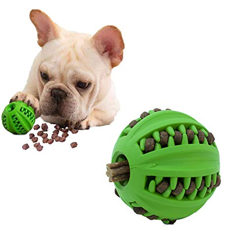 EETOYS IQ Dog Treat Ball – Interactive Treat Dispensing Dog Puzzle Toy Rubber Dog Ball Slow Feeding Food Dispensing Dog Toy Reduce Boredom Teething Toy for Mini Small Medium Dogs (Small, Green)