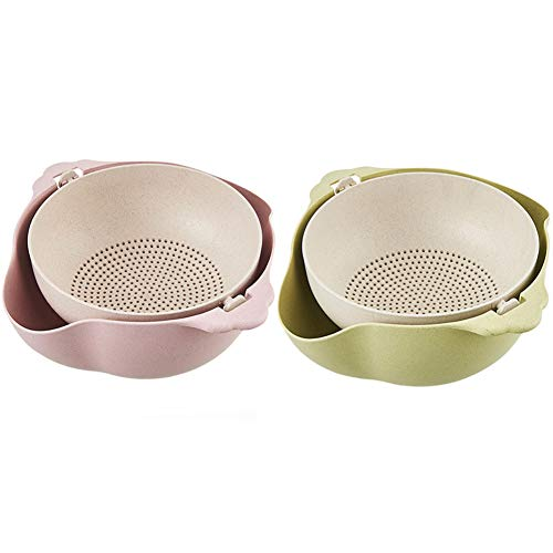 Shopwithgreen 2 in 1 Multifunction Kitchen Colander/Strainer Bowls,2 Pack Double Layered Detachable Colanders Strainers Rotatable Drain Basin and Basket, Vegetables Cleaning, Washing, Mixing Fruits