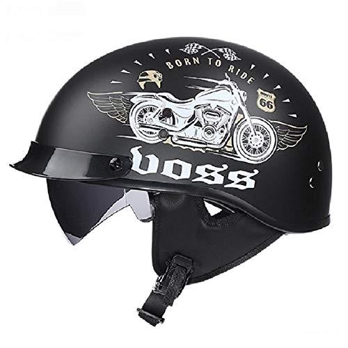 QHZ Harley Retro Motorcycle Half Helmet Adult Black Applique Half Shell DOT Certification Men and Women Riding Beanie Cool Best Bike Scooter Half Helmet,XL