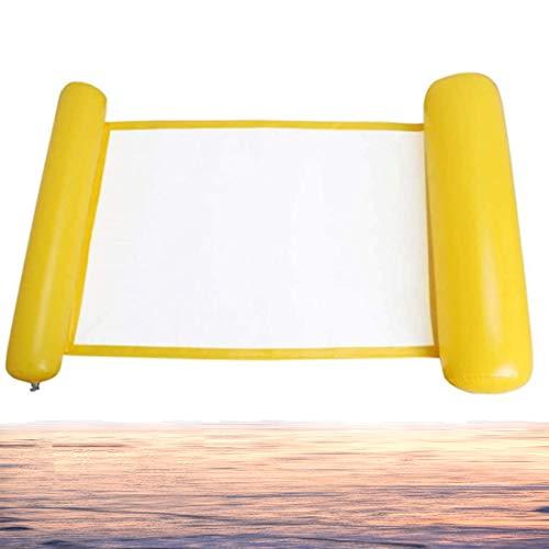 Hamaca de Agua Inflable Flotante Hanel-Hamaca Flotante Amarilla con Almohada Inflable, Hamaca de Agua Flotante Piscina Inflable Playa Cama Flotante Sillón, para Verano Playa Mar Piscina