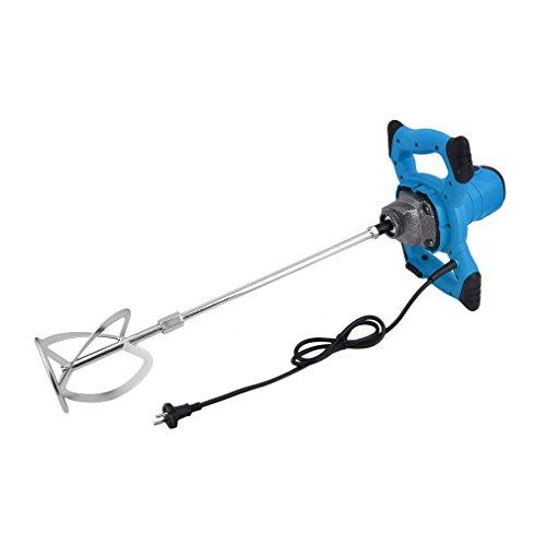 Mezclador De Grado Industrial Batidor de pintura, Mezclador de mortero 930 rpm, Ajustable Pintura de Mano Cemento Yeso Mezclador (Azul-1400W)