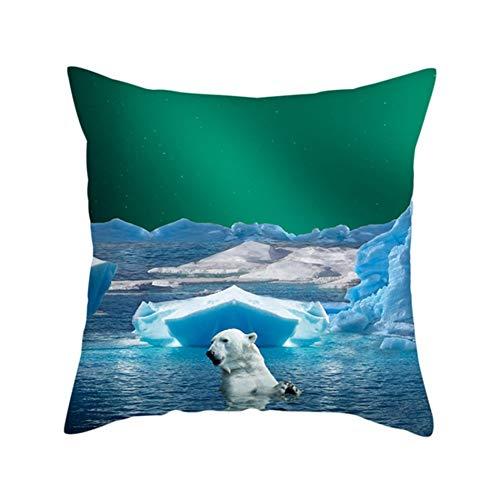 Fundas de Cojín Decorativos Oso Polar Iceberg Cuadradas Terciopelo Suave Funda de Almohada Cubierta para Cojines Sofá Sala de Estar Dormitorio Cama Decor Throw Pillow Case Pillowcase,50x50cm T5495
