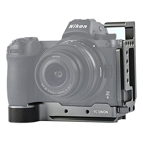 Kamera L Halterung L-förmige Platte für Nikon Z6 Z7 mit Arca Swiss Plate Schnellverschluss Kaltschuh Sechskantschlüssel Y-Münze Aluminiumlegierung Matt Silber YC Onion