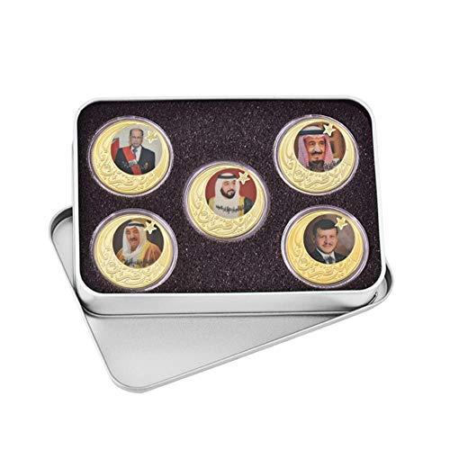 WR Leader of The Dubai Emiratos Árabes Unidos Monedas chapadas en Oro Coleccionables Conjunto de Monedas Original con Monedas Titular Medalla Set de Regalo, con Caja de Metal
