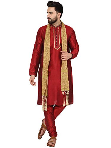 SKAVIJ Seda Lujoso Kurta Pijama Bufanda (Camisa Larga y Pantalón) para Hombre (Rojo, Medium)