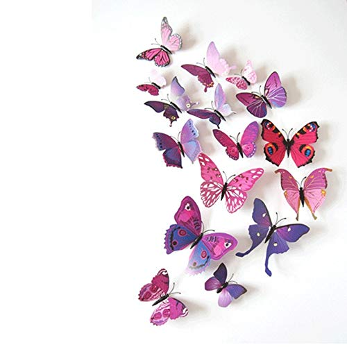 12 stks 3D Vlinder Muurstickers voor Woonkamer Slaapkamer Halloween Kerstfeest Decoratie PVC Vlinders met Pin Art