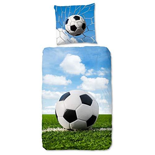 Aminata Kids - Biber Bettwäsche 135x200 Jungen Fussball-Motiv Junge, Jungen, Jungs, Teenies & Jugendliche - Baumwolle, Biber-Kinder-Bettwäsche-Set Flanell grün blau - warm, weich & kuschelig